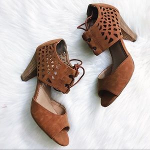 RESTRICTED   brown retro-style lace-up sandals